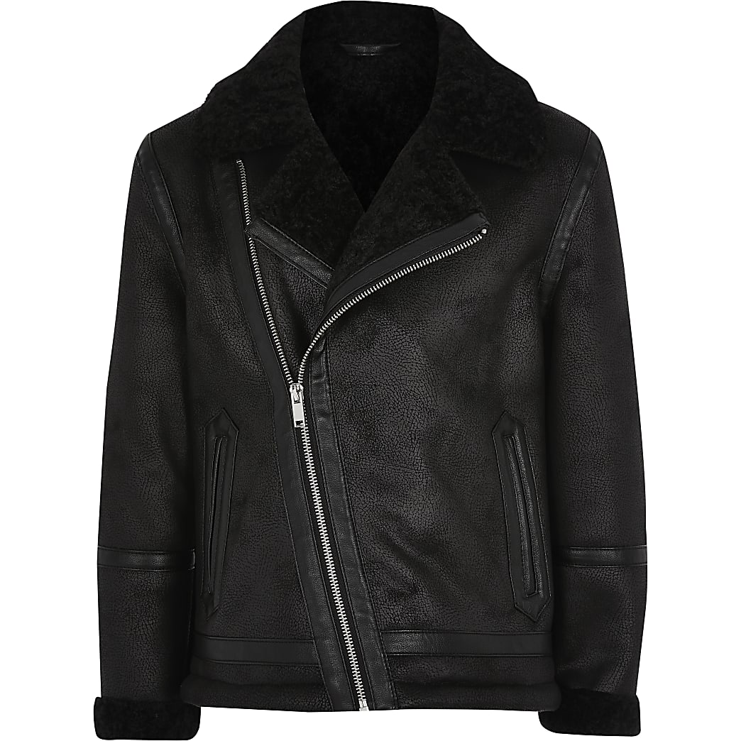 Boys black borg lined faux suede jacket