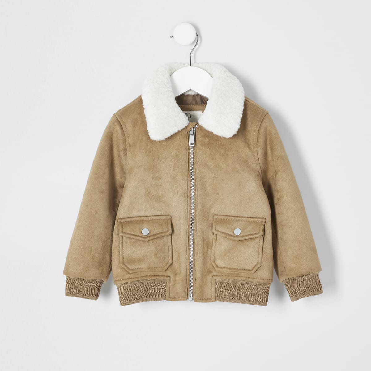 Mini boys tan faux suede borg bomber jacket
