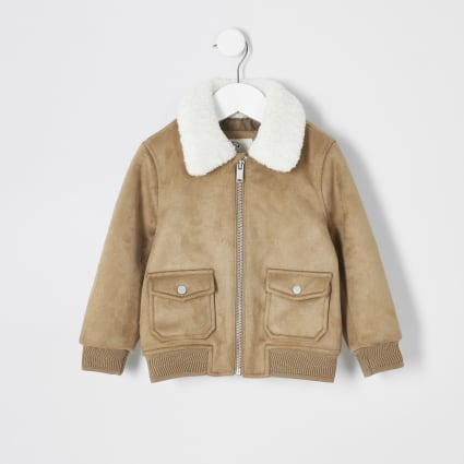 Mini boys tan faux suede borg bomber jacket