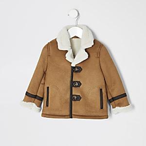 Veste en suédine brun roux avec doublure imitation mouton pour Mini garçon