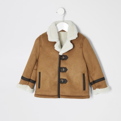 Mini boys tan borg lined faux suede jacket