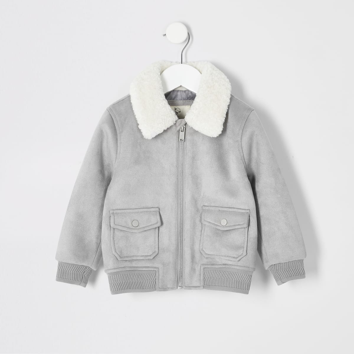 Mini boys grey faux suede borg bomber jacket