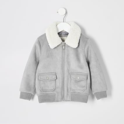 Mini boys grey faux suede borg bomber jacket