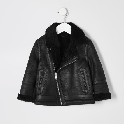 Mini boys black borg lined faux suede jacket