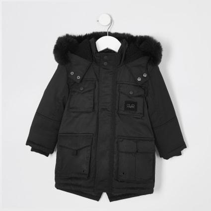 Mini boys black faux fur hooded utility parka