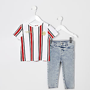 Mini boys white stripe T-shirt outfit