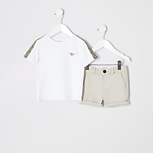 Mini boys white T-shirt and chino outfit