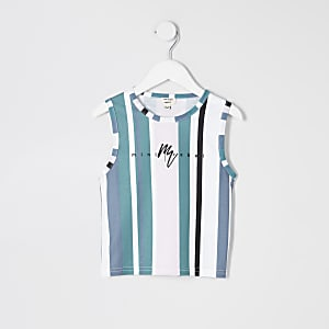 Mini boys blue stripe tank