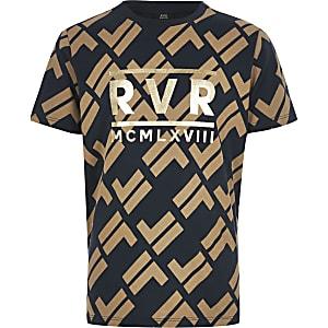 Marineblaues T-Shirt mit RI-Print