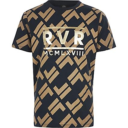 Boys navy RI print T-shirt