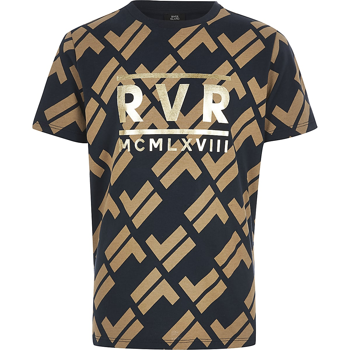 Boys navy RI print T-shirt