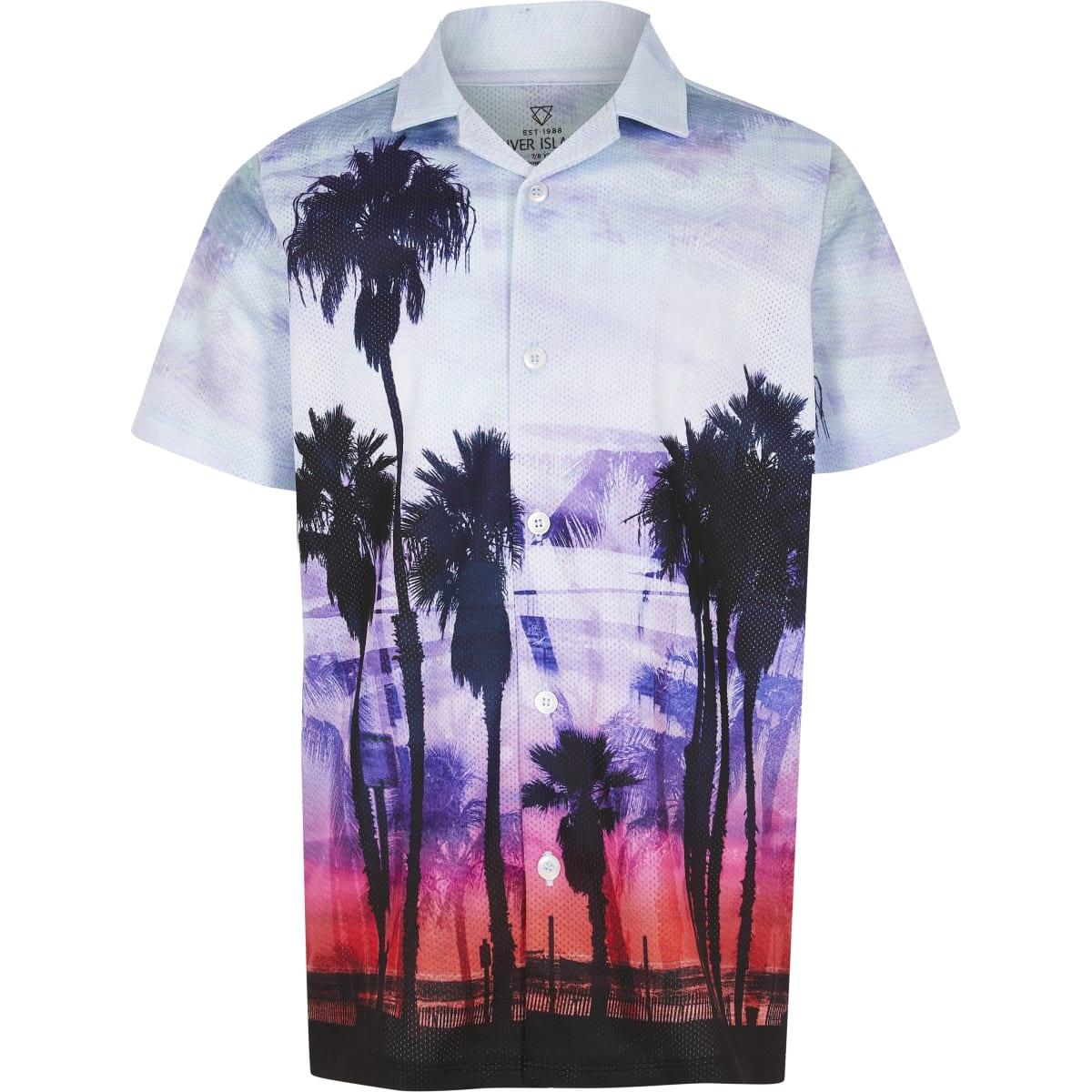 Boys blue palm print mesh shirt