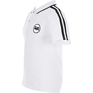 Boys white tape polo shirt