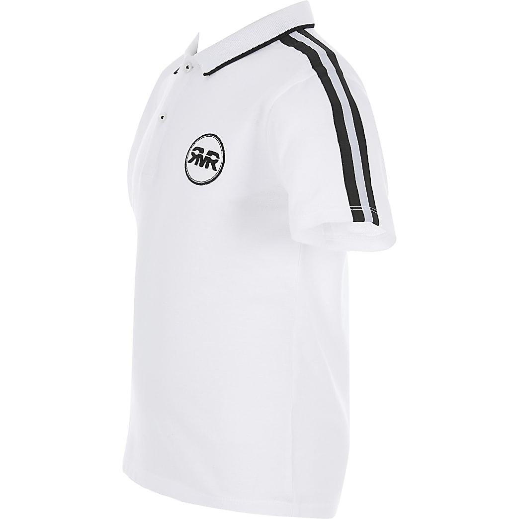 Boys white tape polo shirt