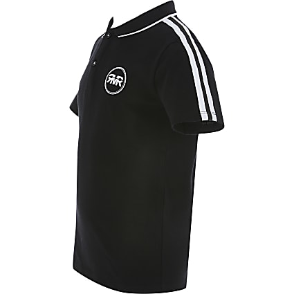Boys black tape polo shirt