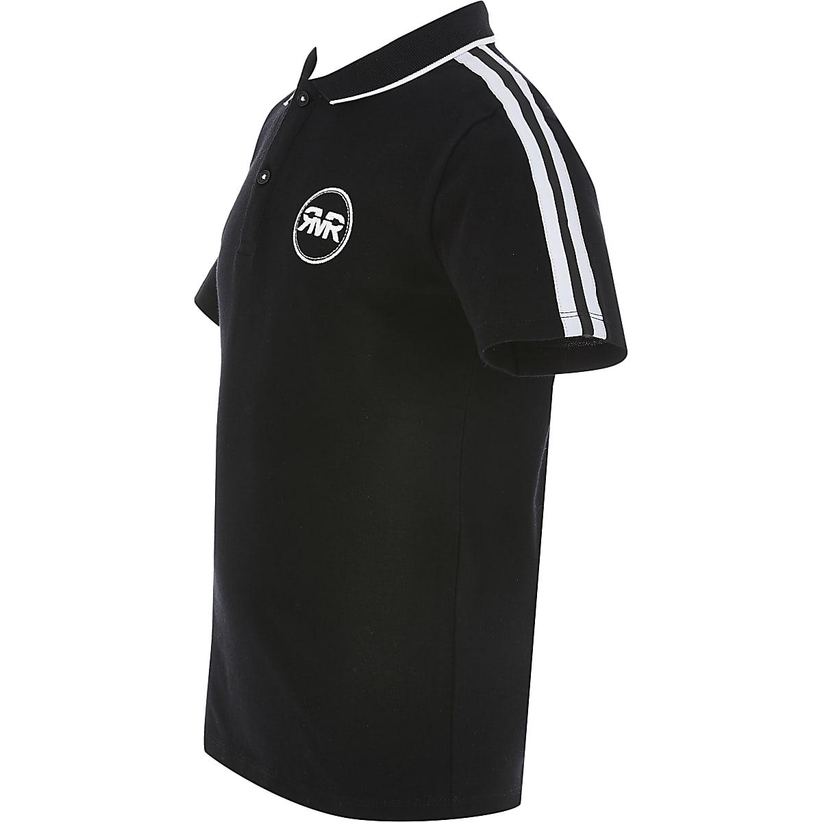 Boys black tape polo shirt