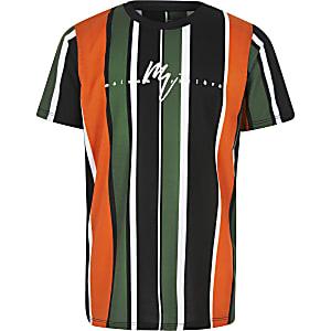 Oranje gestreept T-shirt met 'Maison riviera'-print voor jongens