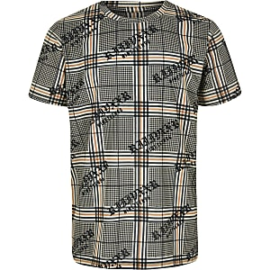 Boys brown check T-shirt