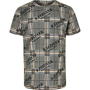 Boys brown check T-shirt