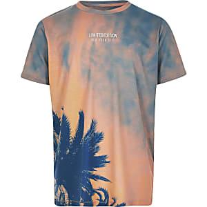 Oranje tie-dye T-shirt met palmboomprint voor jongens