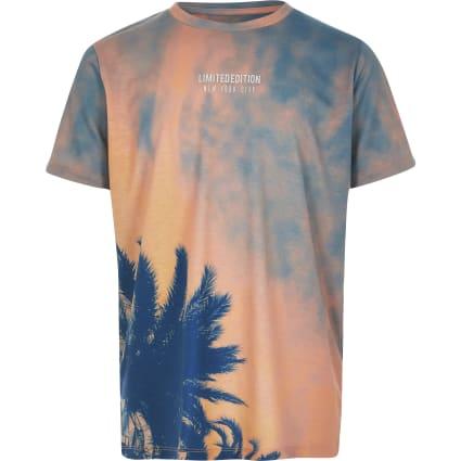 Boys orange tie dye palm print T-shirt