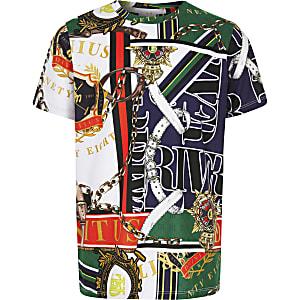 Boys green baroque print T-shirt