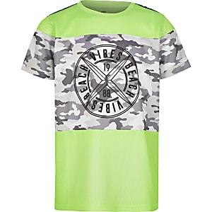 T-shirt en maille imprimé camouflage vert fluo pour garçon