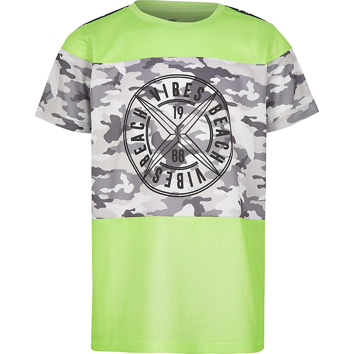 Boys neon green camo mesh T-shirt