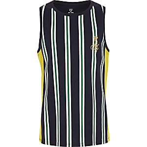 Boys navy stripe tank