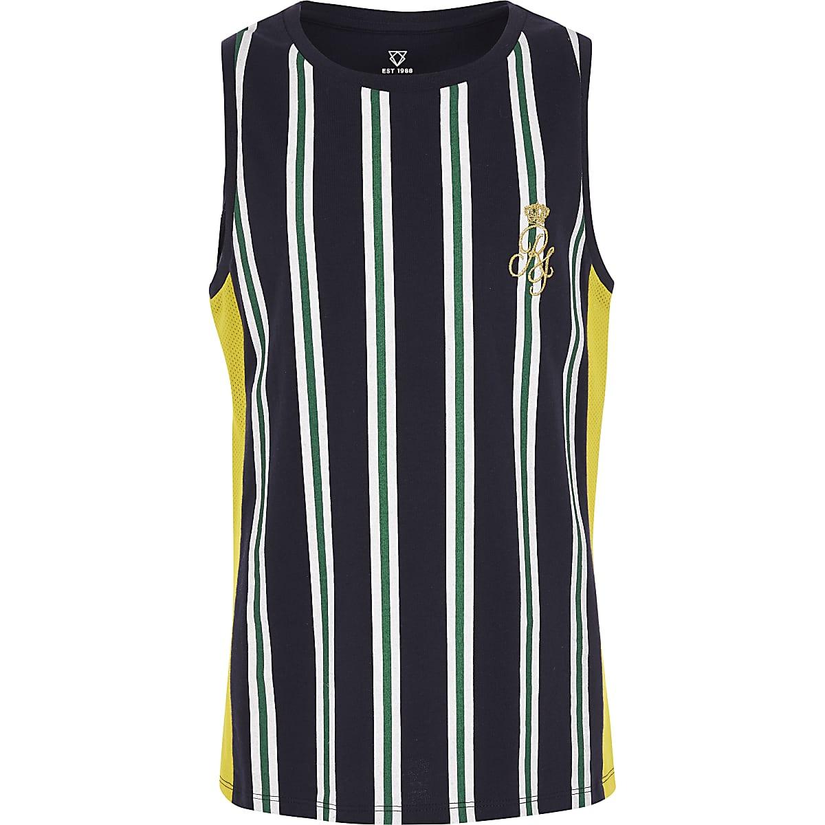 Boys navy stripe vest