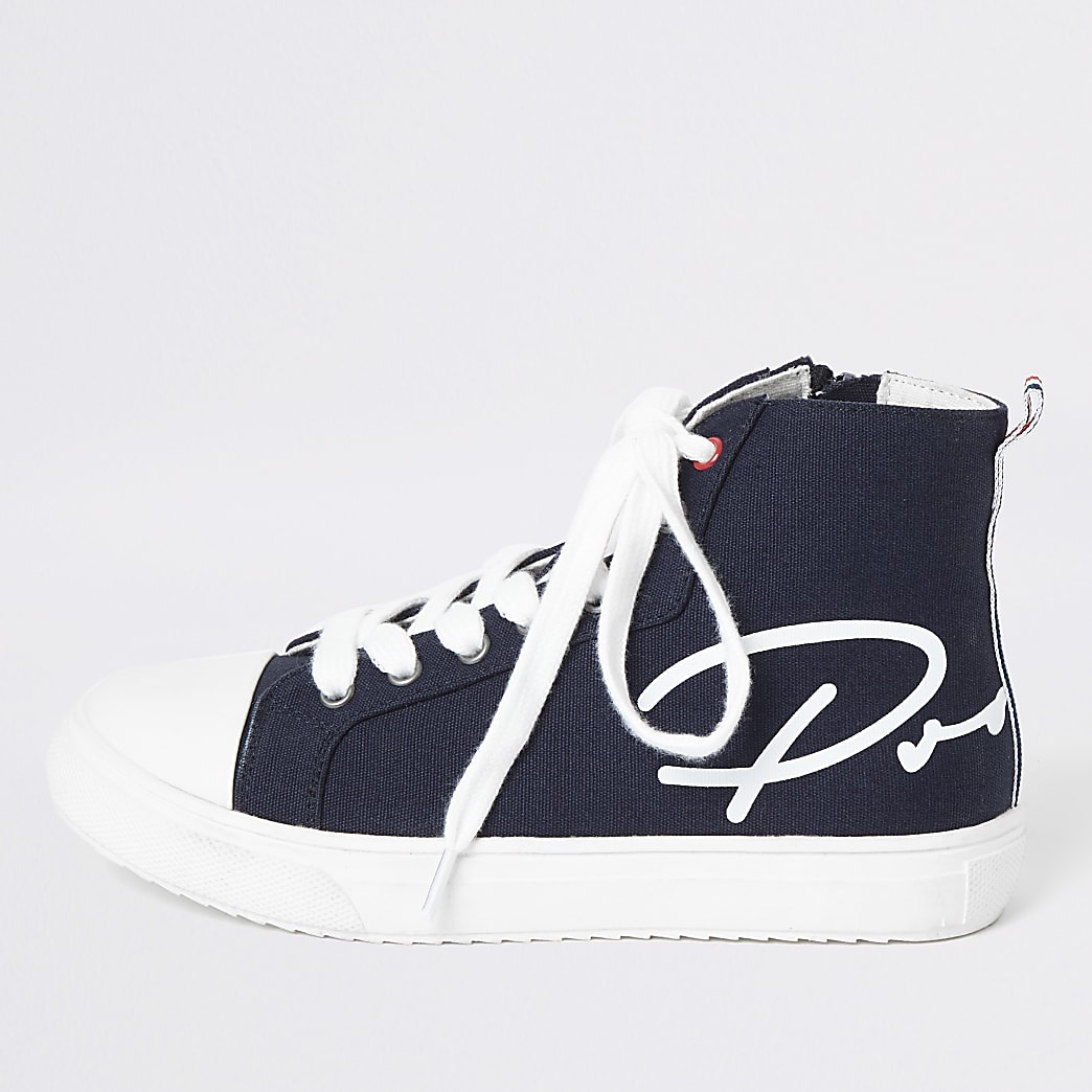 Boys navy Prolific high top trainers