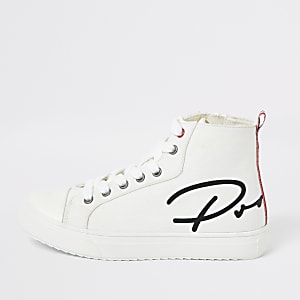 Boys white 'Prolific' high top trainers