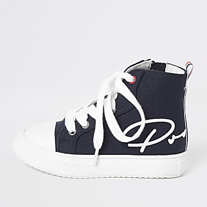Mini boys navy Prolific high top trainers