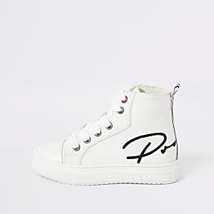 Mini boys white 'Prolific' high top trainers