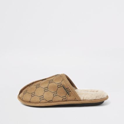 Boys brown RI monogram mule slippers