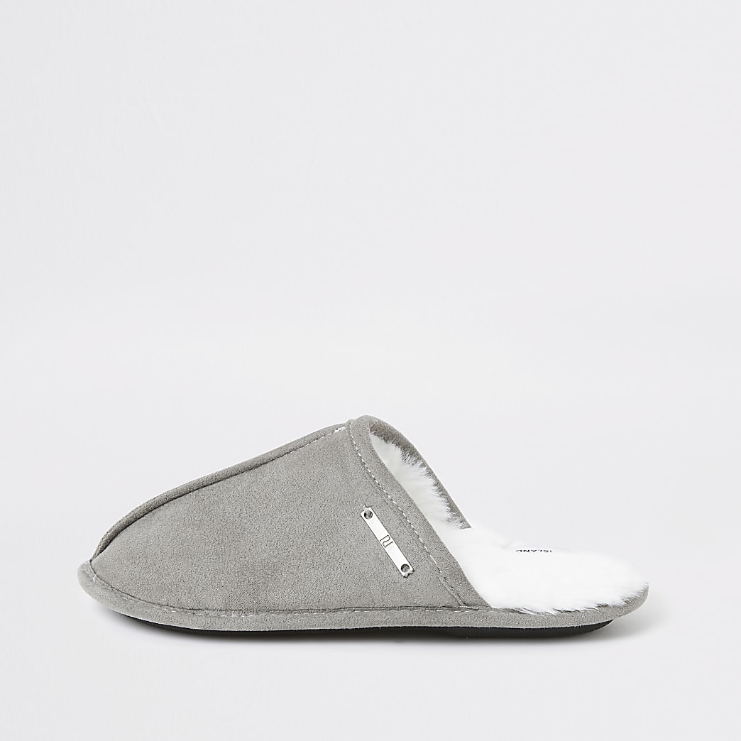 Boys grey mule slippers