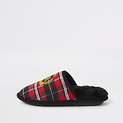 Boys red tartan RI crest mule slippers