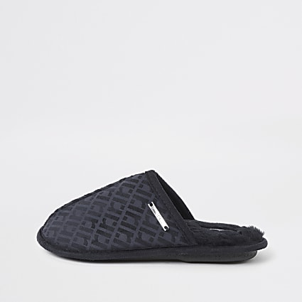 Boys navy RI monogram mule slippers