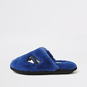 Blauwe monster slippers met imitatiebont voor jongens