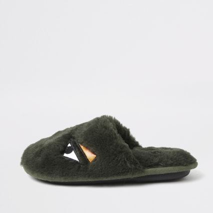 Boys khaki faux fur monster slippers