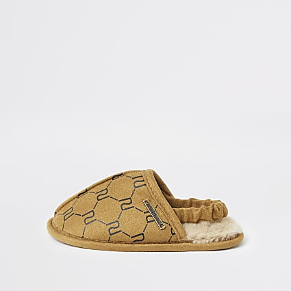 Mini boys brown RI monogram mule slippers