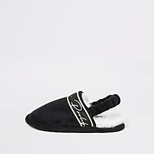 Mini - Prolific - Zwarte instap pantoffels voor jongens
