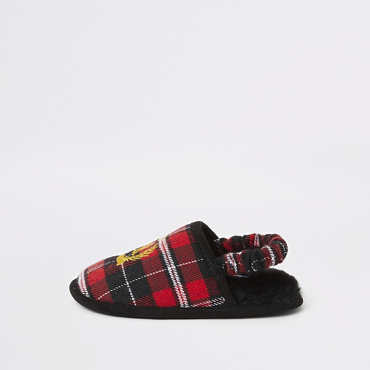 Mini boys red tartan RI crest mule slippers