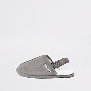 Mini - Grijze open pantoffels voor jongens