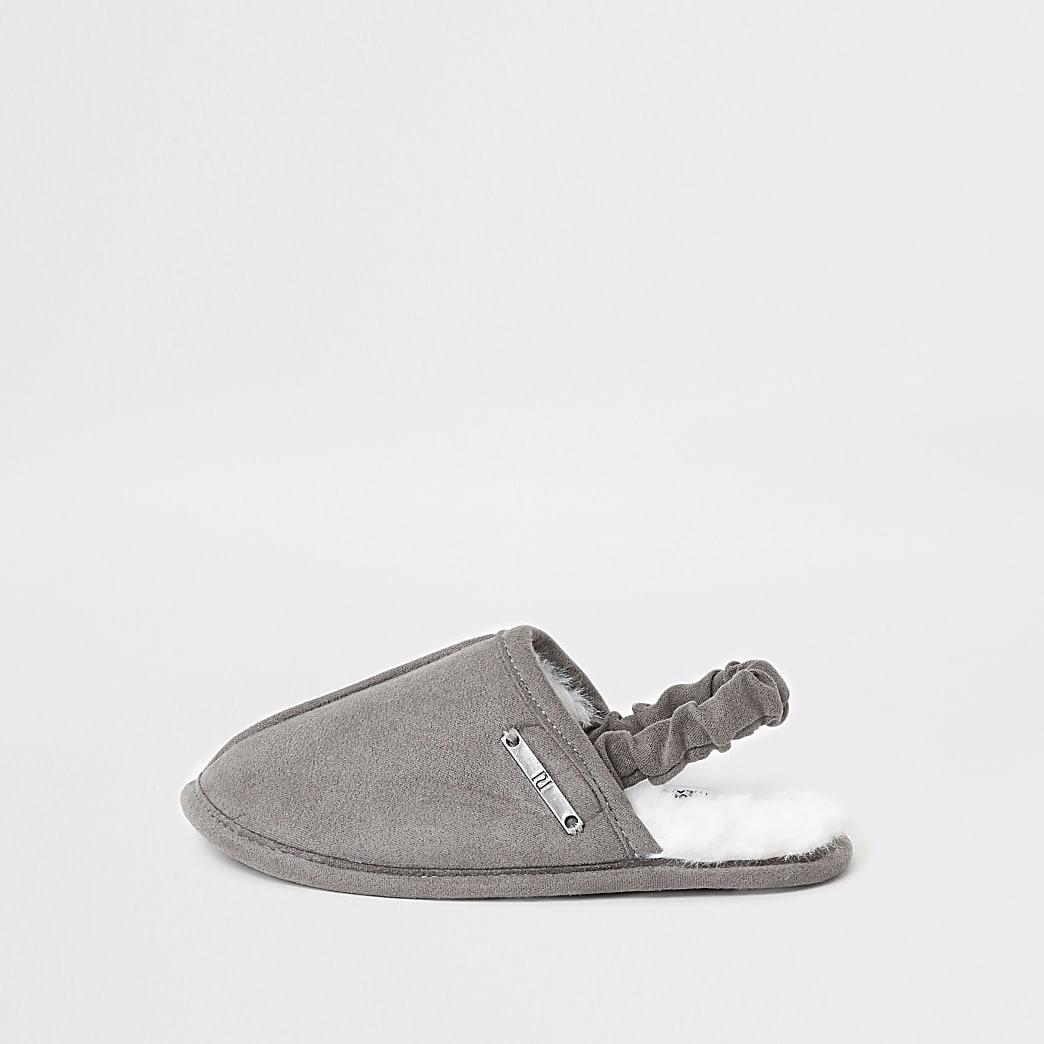 Mini boys grey mule slippers