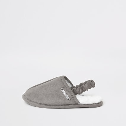 Mini boys grey mule slippers