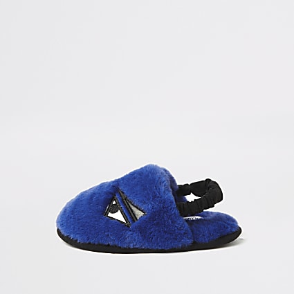 Mini boys blue faux fur monster slippers