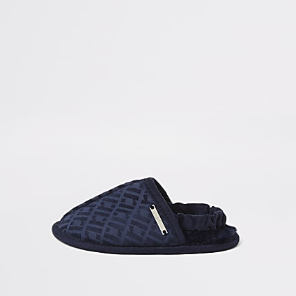 Mini boys navy RI monogram mule slippers