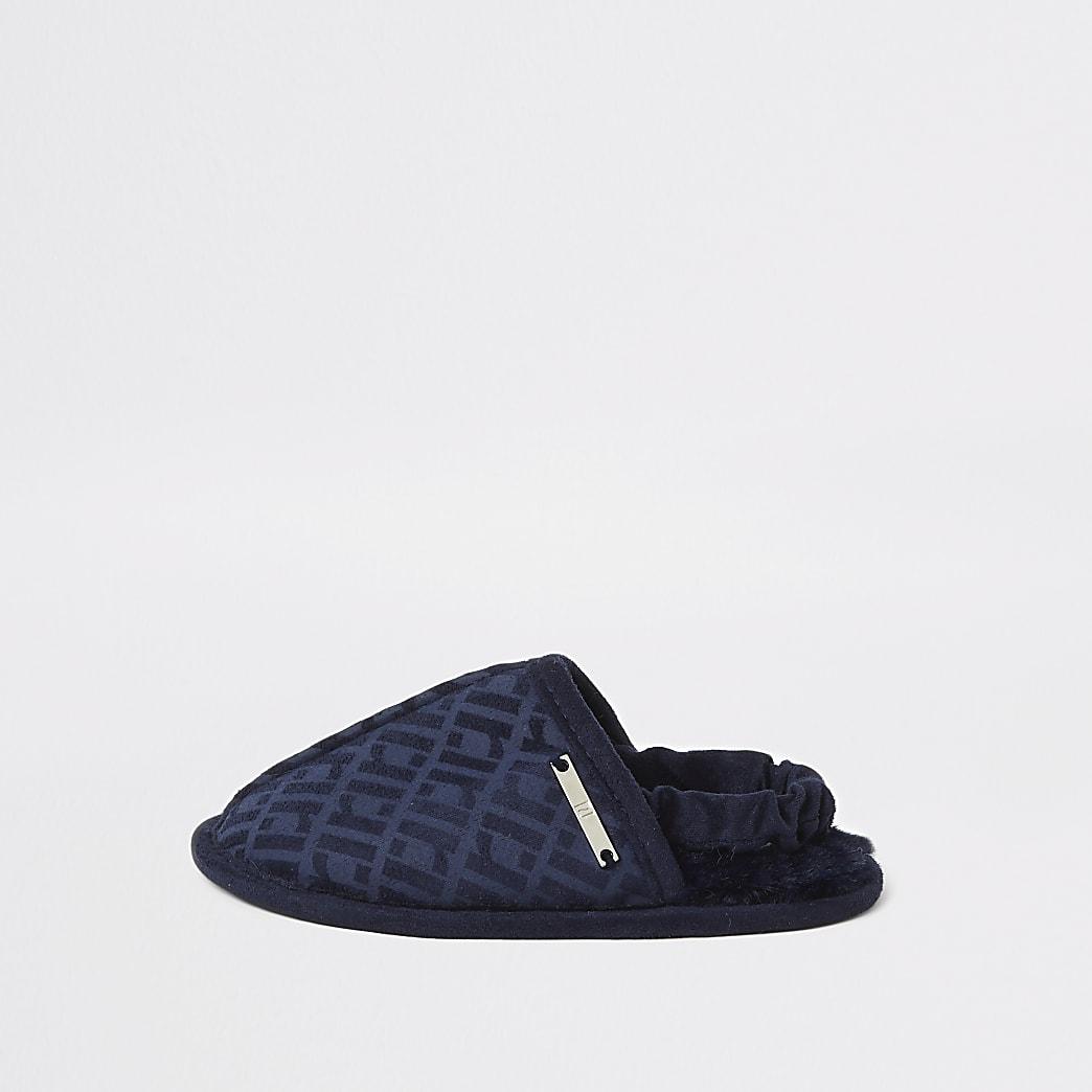 Chaussons bleu marine Monogramme RI pour mini garçon