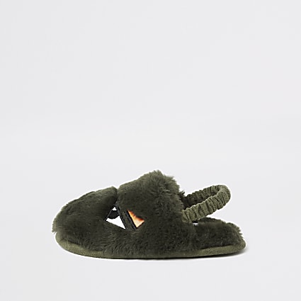 Mini boys khaki faux fur monster slippers